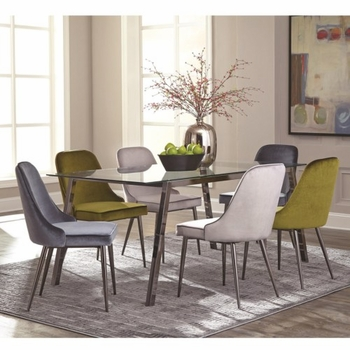 5PC Inslee Modern Glass Top Dining Table Set