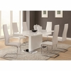 5PC Modern Dining White Table & White Upholstered Chairs Set
