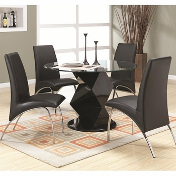5PC Ophelia Contemporary Dining Set with Round Glass Top Table