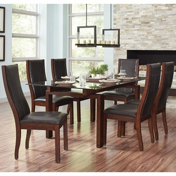5PC Rossine Transitional Glass Table Set with Parson Side Chairs