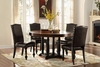 5PC Round Dining Set with 4 PU Chairs