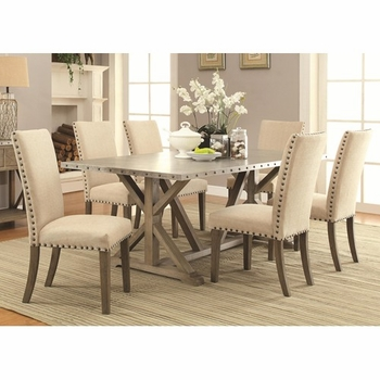 5PC Webber Transitional Style Table and Chair Set with Metal Top and Nailhead Trim
