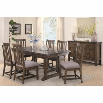 5PC Willowbrook Rustic Dining Set with Bluestone Table and Solid Wood Chairs