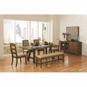 6 PC Arcadia Industrial Table & Chair Set with Bench