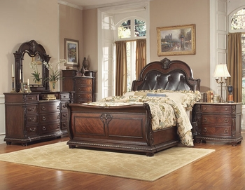 5 PC Bedroom Set Palace Queen bed, 2 Nightstand, Chest, Dresser, Mirror