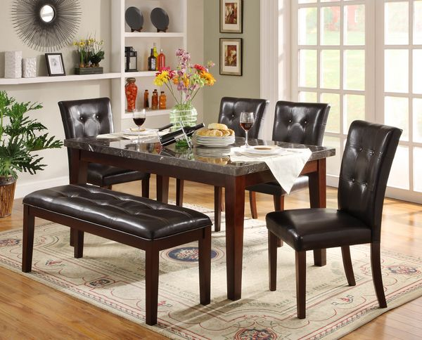 6 PC Dining Room Decatur Genuine Marble Set Table Bench 4 Chairs Furniture