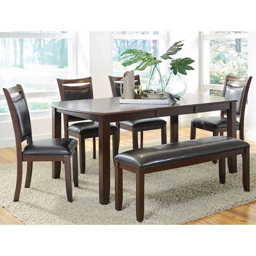 6 PC Dupree Casual Dining Table Bench With 4 Side Chairs