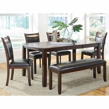 6 PC Dupree Casual Dining Table & Bench with 4 Side Chairs