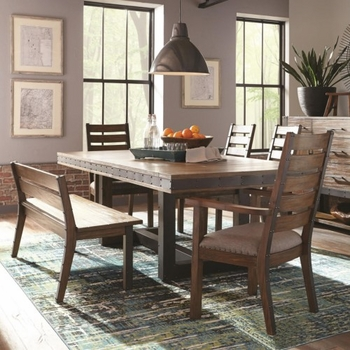 6PC Atwater Industrial Dining Set with Ladderback Chairs and a Bench