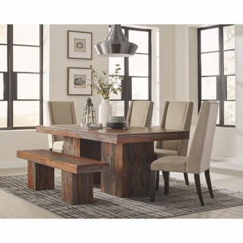 6PC Binghamton Rustic Dining Table Set with Bench