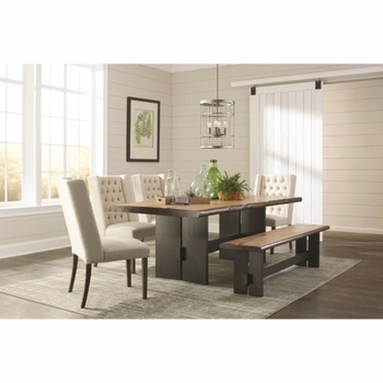 6PC Burnham Rustic Live Edge Dining Table Set with Bench Set