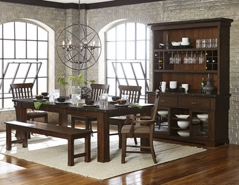 6PC Schleiger Dining Room Set Table, 2 Arm Chairs, 2 Side Chair and Bench