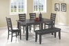 6PC Dining Set Table, 4 Side Chairs and Bench
