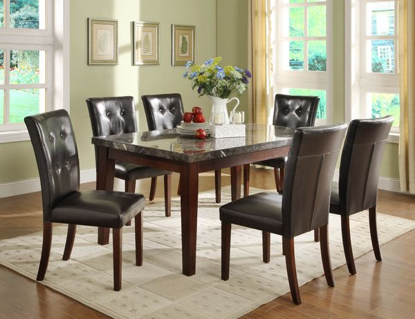 7 pc dining room genuine marble set table 6 chairs for Dining room sets 7 pc