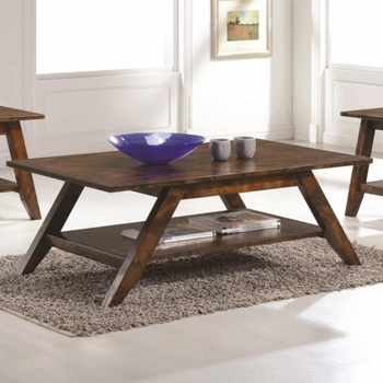 70403 Mid Century Coffee Table with Rustic Finish