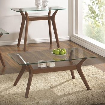 70416 Coffee Table with Glass Top and 1 Shelf