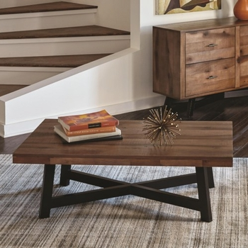 70549 Rustic Coffee Table with X-Shaped Base