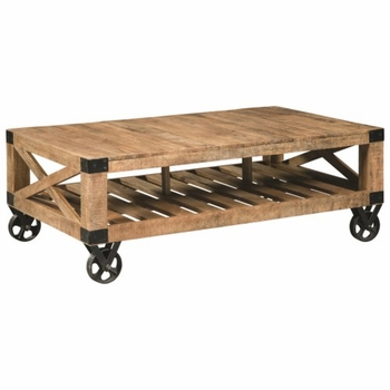 70554 Industrial Coffee Table with Casters