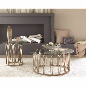 708058 Round Coffee Table with Metal Base