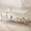 72033 Metal Coffee Table with Glass Top and Mirrored Shelf