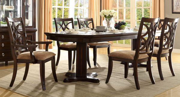 Traditional 5 pc dining table dining chairs dining arm for 108 inch dining room table