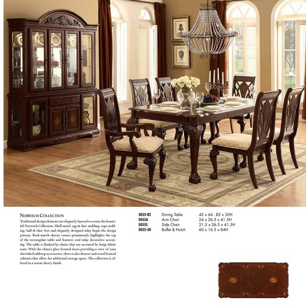 Kitchen Cabinet Warehouse Manassas Va: Traditional 5 PC Dining Table Dining Chairs Dining Arm