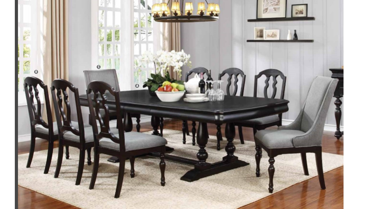 traditional solid wood extendable dining room sets table 8 chairs 9 pc leon dining collection
