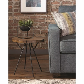90335 Tree Trunk Slab Accent Table with Metal Legs