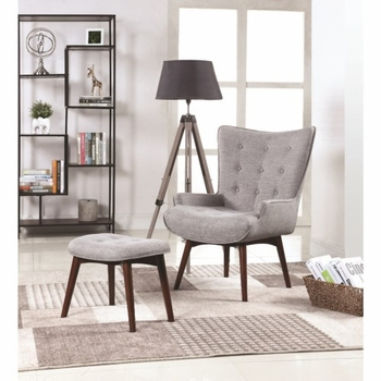903820 Mid-Century Modern Accent Chair With Ottoman