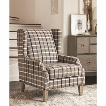 904052 Upholstered Wingback Chair with Plaid Design