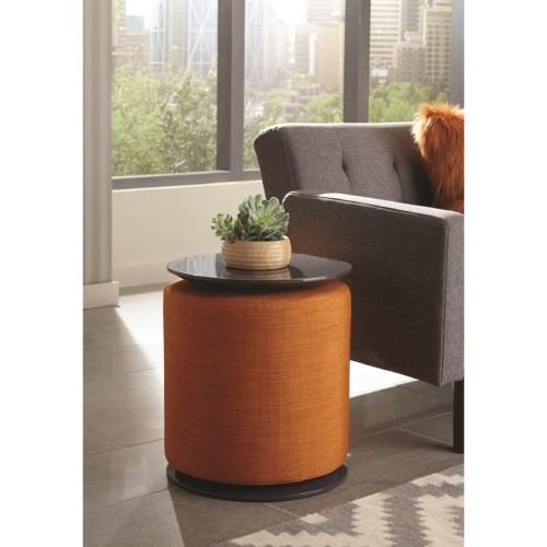 93001 Round Accent Table With Ottoman