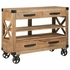 950711 Rustic Accent Cabinet with Industrial Casters