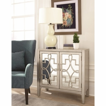950771 Accent Cabinet with Mirrored Doors Accented with Lattice Designs