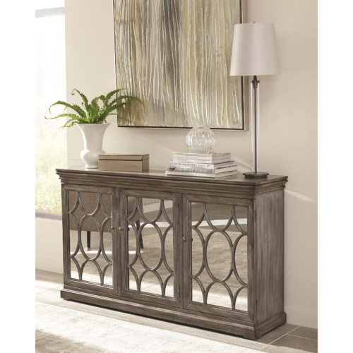 Beau 950777 Accent Cabinet With Three Mirrored Doors Accented With Lattice