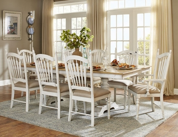 9PC HollyHock Dining Room Set , Table, 2 Arm Chairs and 6 Side Chairs