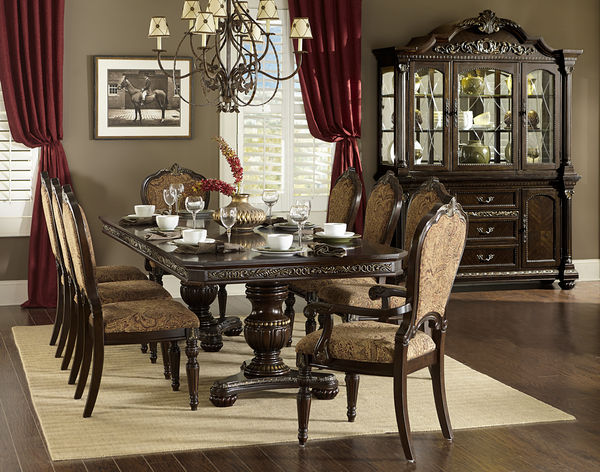 traditional 9 PC dining table dining chairs dining arm chair dining ...