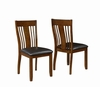 Abrams Side Chair with Arts & Crafts Slat Back and Leatherette Seat