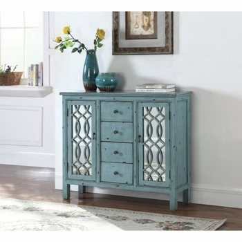 Accent Cabinets Antique Blue Accent Table with Inlay Door Design