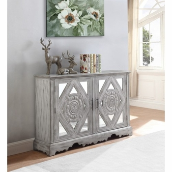 Accent Cabinets Distressed Grey Accent Cabinet with Ornate Doors