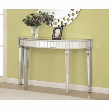 Accent Cabinets Half Oval Mirrored Console Table