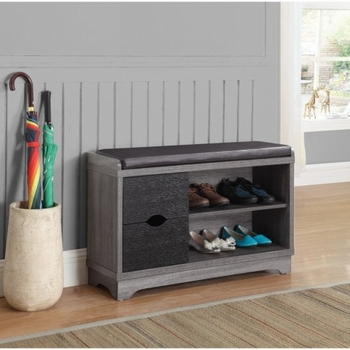 Accent Cabinets Shoe Cabinet with Leatherette Seat