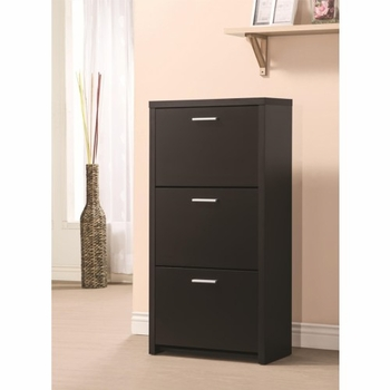 Accent Cabinets Tall 3-Drawer Shoe Cabinet