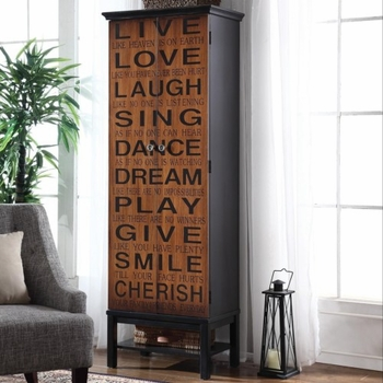 Accent Cabinets Tall Accent Cabinet with Positive Words