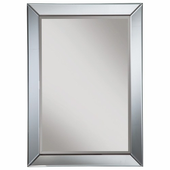 Accent Mirrors Contemporary Mirror with Blue Accent Trim