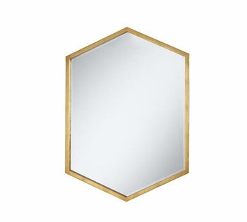 Accent Mirrors Hexagon Shaped Mirror With Gold Frame