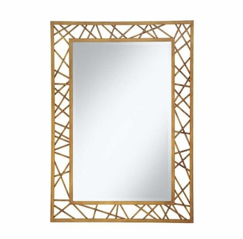 Accent Mirrors Rectangular Mirror with Geometric Gold Frame