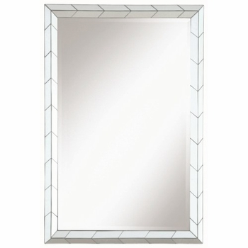 Accent Mirrors Mirror with Chevron Pattern