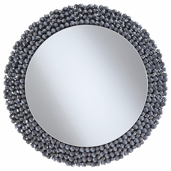 Round Wall Mirror With Textural Frame Grey 960077