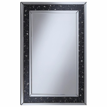 Accent Mirrors Wall Mirror with Black Jewel Frame