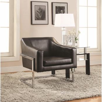 Accent Seating Contemporary Accent Chair in Grey Linen-Like Fabric with Exposed Metal Frame